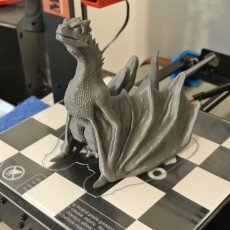 This print has been uploaded by : Bill McDaniel : My Drogon prints: WanHao i3 Duplicator. WanHao PLA Silver. Temps 210/60. S3D.