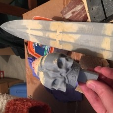 This print has been uploaded by Tyler, Thanks Kirby Downey for the great design. Modify stl files to fit printer bed and to allow led to be added. The skull head stl file was edited to allow the face to be removed to access the LED light controls and batteries. The Head is held simply with magntics. Printed on a Bibo 3d printer with FoxSmart Grey and FoxSmart Clear PLA. 1.75mm