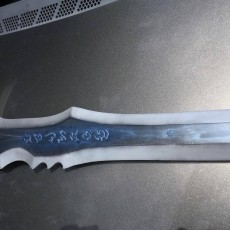 This print has been uploaded by alexprov, This is my take on the sword. 3d prop I make Im surprised by the results, however I found the way the blade get assembled to be very weak it broke in 4 places at one point during the build had to epoxy the core of the blade now it's super heavy. As a display pice it's awesome thanks for the share Kirby.