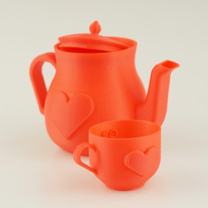 Miniature Heart Tea Set