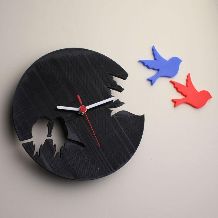 Silhouette Style Bird Clock