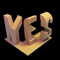 Yes/No typographical sculpture by Markus Raetz