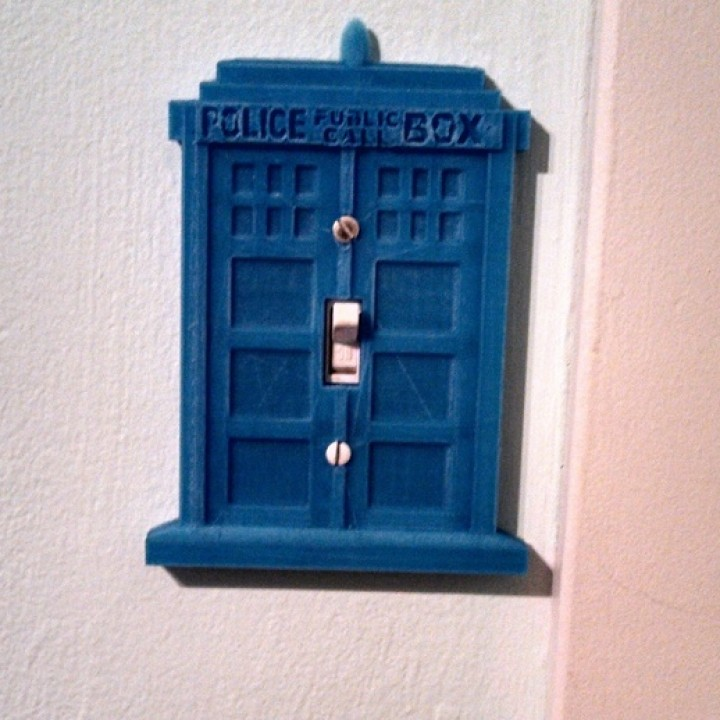 3d printable time and relative dimension in space tardis for Tardis light switch cover