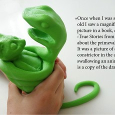 Picture of print of The Little Prince - 'Boa Constrictor in the act of swallowing an animal...'