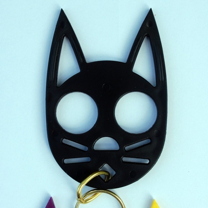 3d Printable Black Cat Self Defense Keychain By Pauwels B