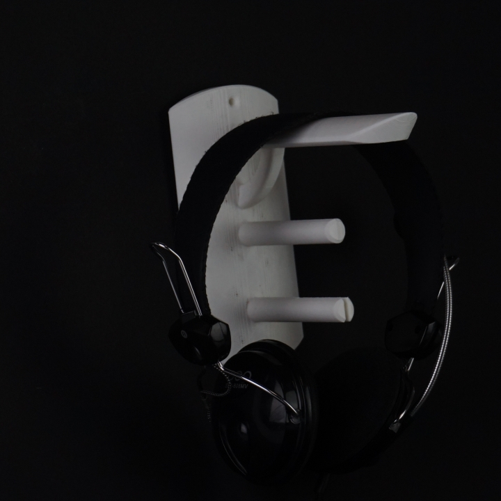 3d printable wall mounted headphone holder by sam henderson - Wall mount headphone holder ...