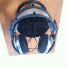 "Picture of print of Wall headphone Stand Model ""Circular A"" For 1-2 Headphones with cable organizer or container."