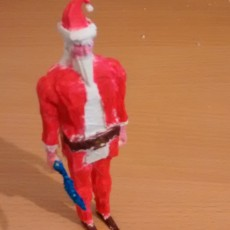 Picture of print of Runescape player with Santa outfit and scimitar