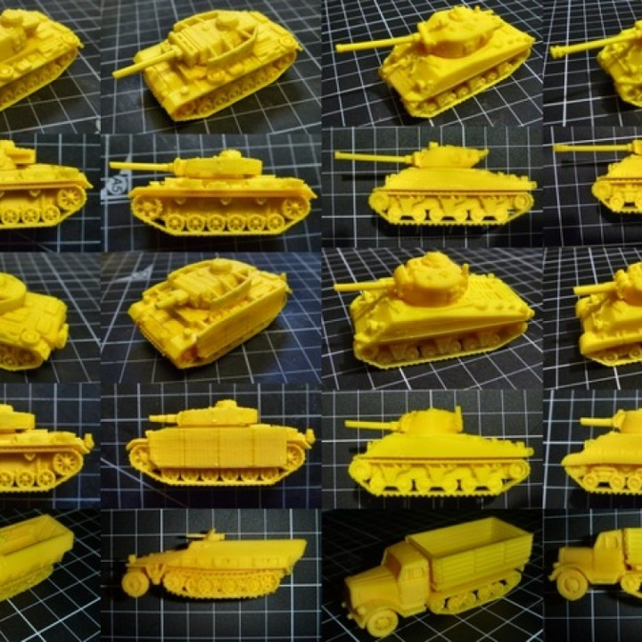 3D Printable 1:100 Tanks pack 1 by Marco Bergman