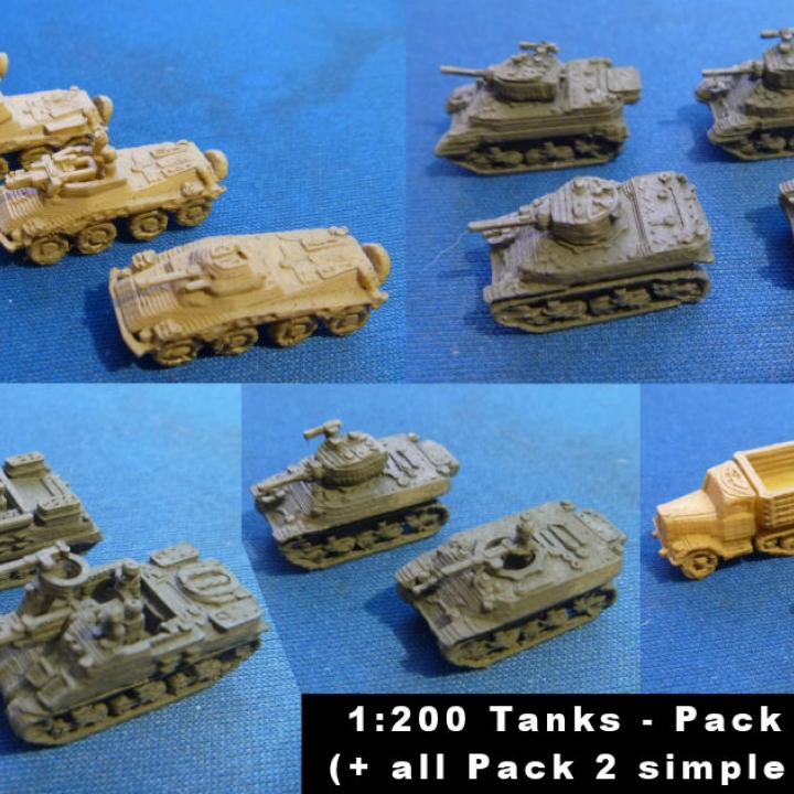 photograph regarding Printable Tanks titled 3D Printable 1:200 Tanks and Cars and trucks Pack 2 as a result of Marco Bergman