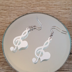 Picture of print of Hearted treble clef earrings