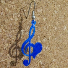 Hearted treble clef earrings