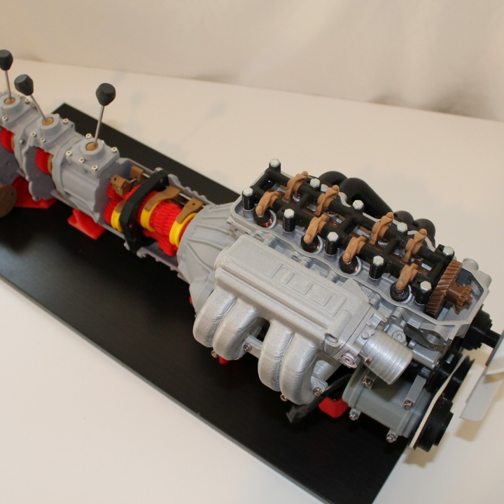 Complete working model, 4 cylinder engine, transmission, and transfer case. Educational Toy