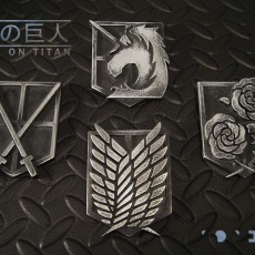 Picture of print of Attack on Titan - Shingeki no Kyojin - Military Emblem Badges