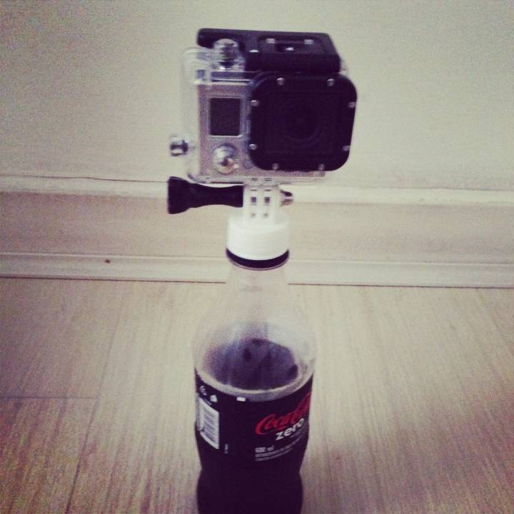 Bottle cap mount for Go Pro