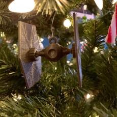 Picture of print of Tie Fighter Christmas decoration.