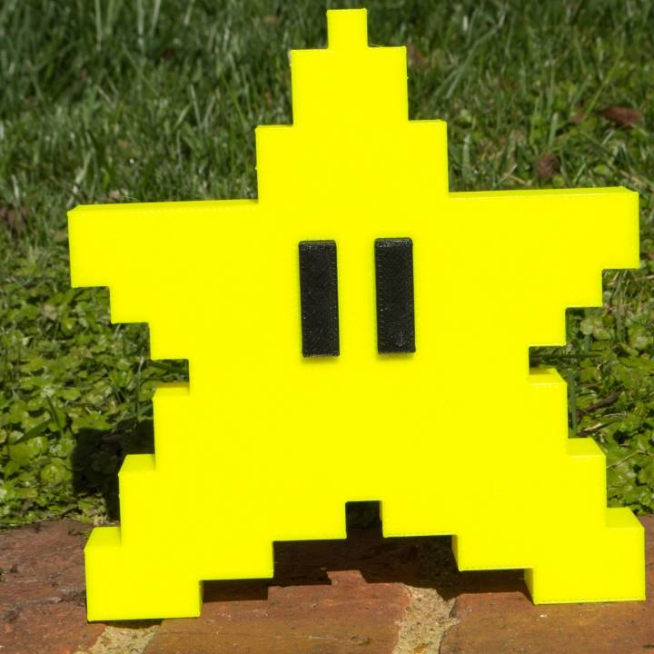 3d Printable Super Mario Bros Pixel Star Tree Topper By