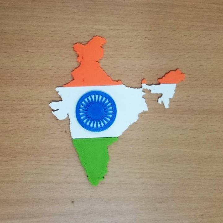 Map of India with flag colour