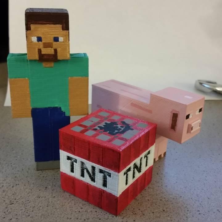 Minecraft - Steve, TNT and Pig