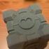 Portal Companion Cube (derivative, with hearts) print image