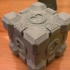 Portal Companion Cube (derivative, with hearts) print image