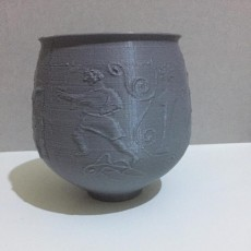 Picture of print of Beaker depicting a gladiator fight at The Gallo-Roman Museum in Tongeren, Belgium