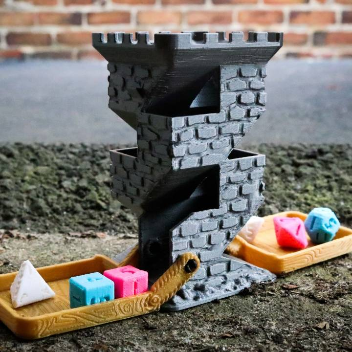 Brick Dice Tower with Fold-Up Wooden Drawbridges