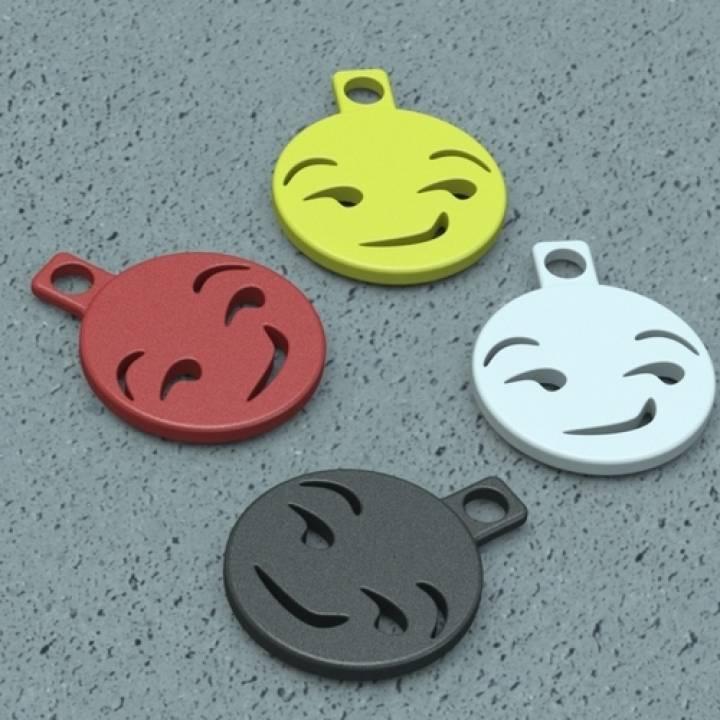 Smirking Emoji Keychain Charm