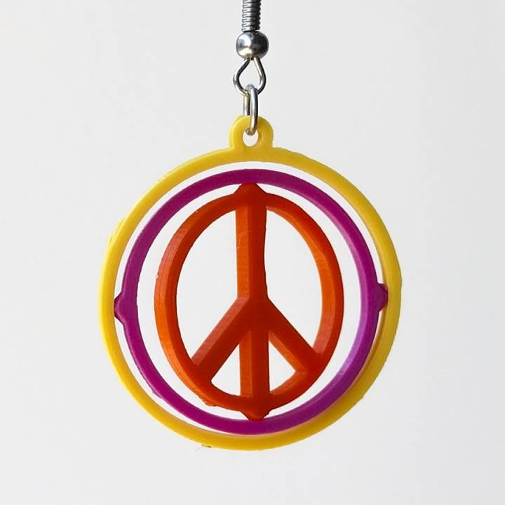 Gyro earrings with Peace sign