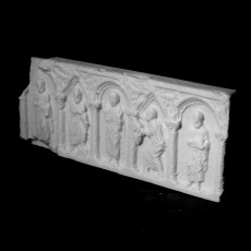 Christ and The Apostles sarcophagus panel at The Musee des Beaux-Arts, Lyon