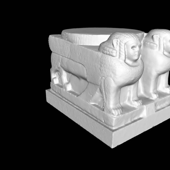 Column base with two sphinxes