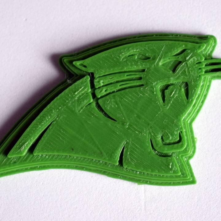 image about Carolina Panthers Printable Logo known as 3D Printable Carolina Panthers - Emblem via Chris Schneider