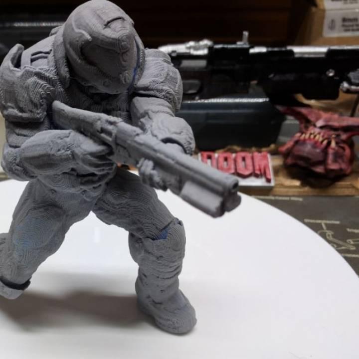3d Printable Doom Marine Doomguy Posed With Shotgun By