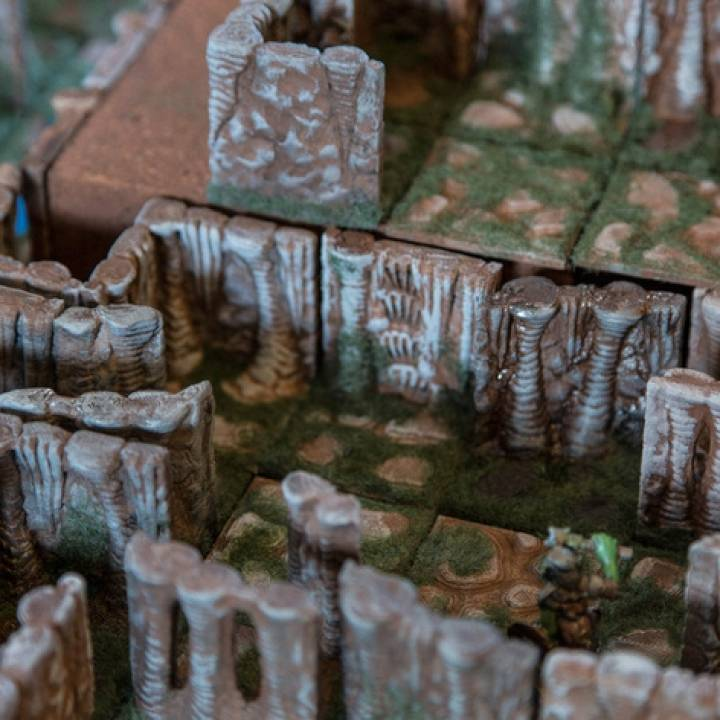 photograph about 3d Printable Dungeon Tiles named 3D Printable Caverns Dungeon Tiles - Wall Element as a result of