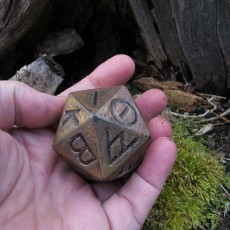 Picture of print of Greek D20 dice