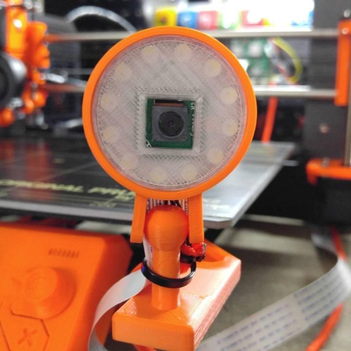 3D Printable Raspberry Pi Camera Case w/ NeoPixel Ring (12