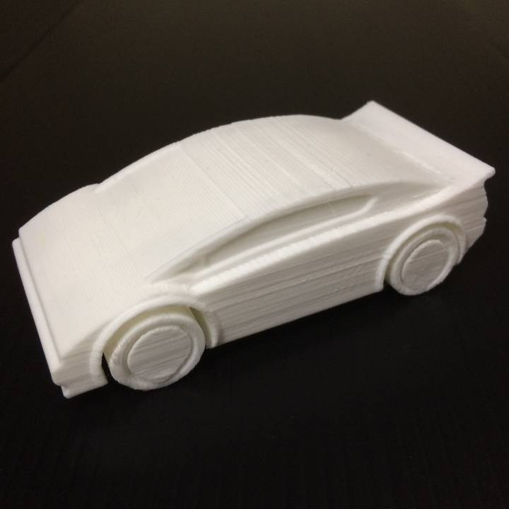 Sports Car - One piece print with moving wheels