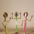 'Tooth Brush Standz' ... Fun Free Standing Tooth Brush Holders! print image