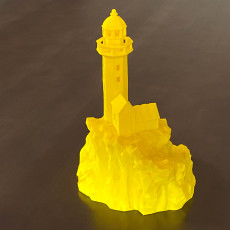 Picture of print of Lighthouse on a rock, low-poly functional edition.
