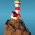 Lighthouse on a rock, low-poly functional edition. image