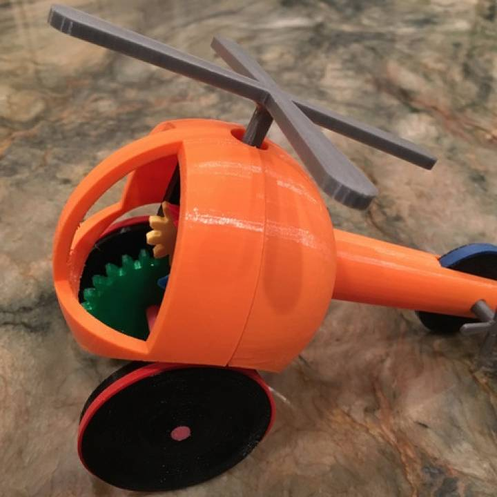 Helicopter Pull, Push, Downhill Toy