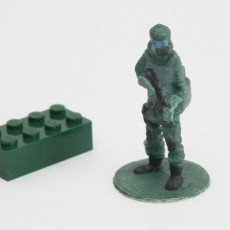 Gas mask soldier on stand