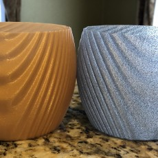 Picture of print of Wavy organic bowl, cups, vase and flower pot.