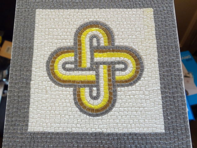 Roman Mosaic - 4 colours King Solomon knot