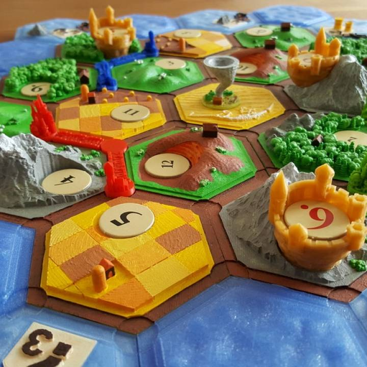 graphic relating to Settlers of Catan Printable known as 3D Printable Castles upon catan (variant: settler of catan) through