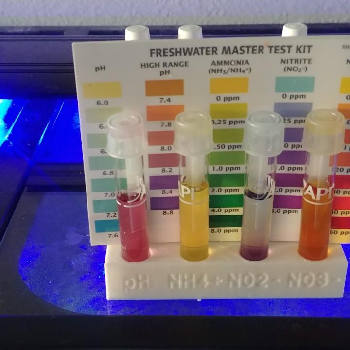 Aquarium water test tube and supplies holder