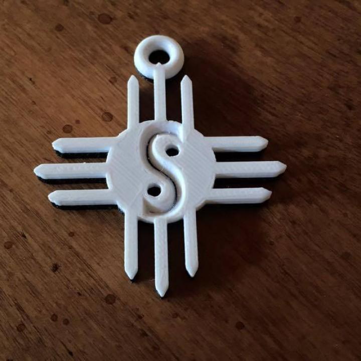 Zia or Santa Fe Sun Yin Yang Keychain
