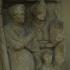 Gravestone fragment with family scene image