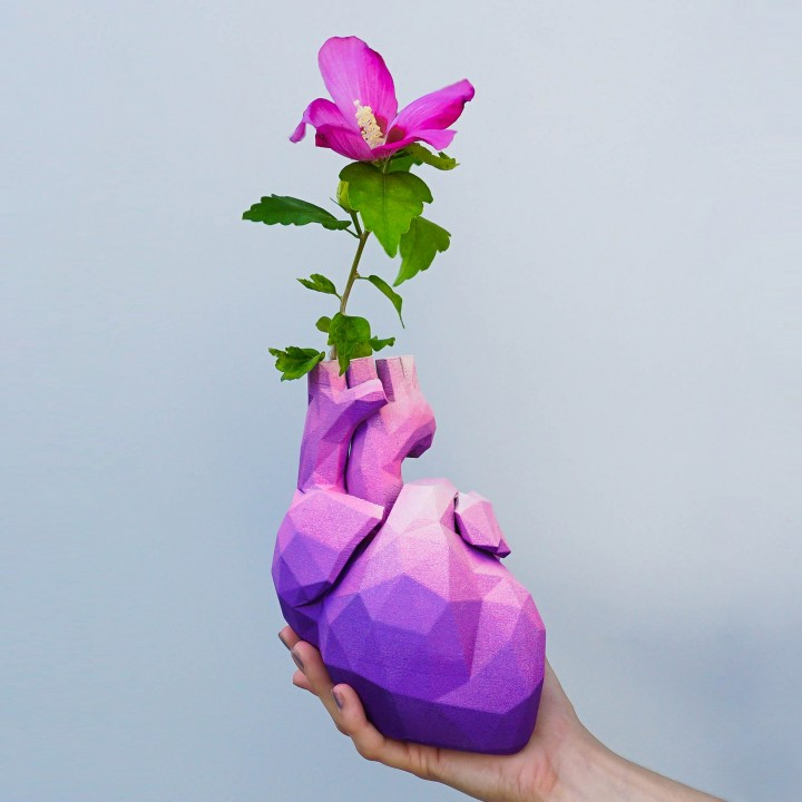 Low Poly Heart Vase Image Loader 3D