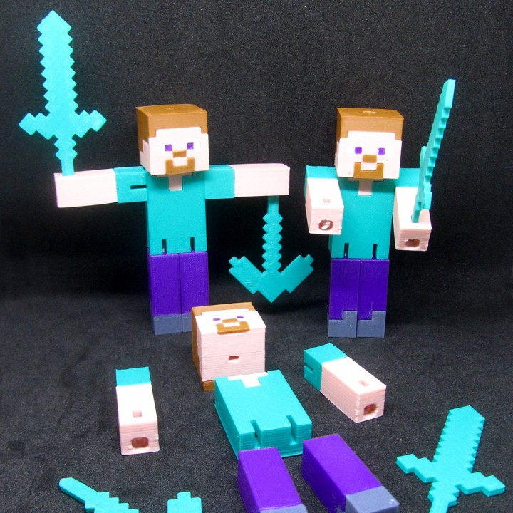 picture regarding Minecraft Steve Printable named 3D Printable Minecraft Steve Articulated (rubber band) by means of